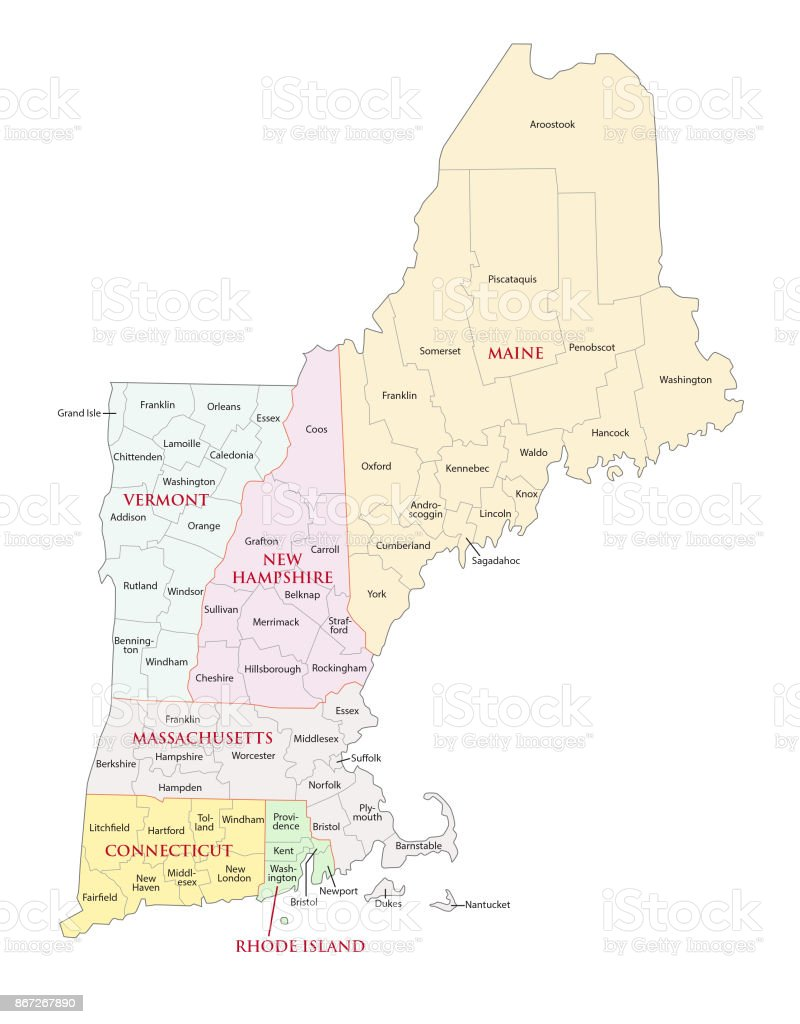 New england states map vector art illustration