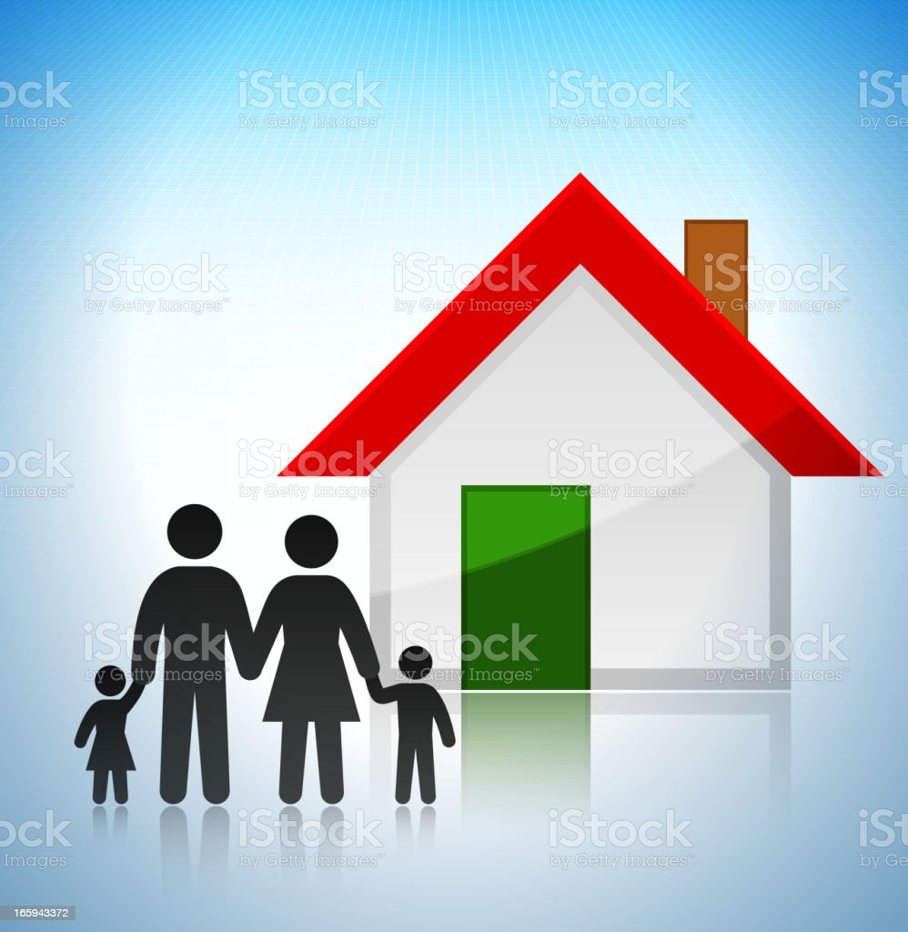 New Family Home Concept Stick Figures vector art illustration