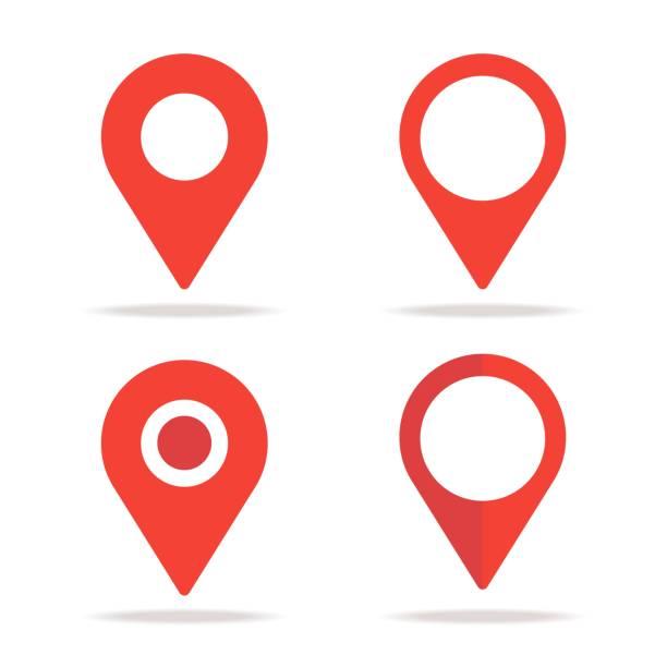 새로운 평면 위치 지도 아이콘 디자인, gps 포인터 마크 - 상징 stock illustrations