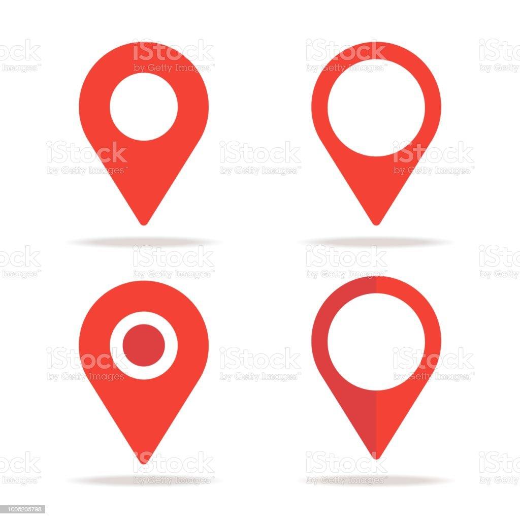 Design plano localização mapa ícones novos, gps ponteiro marca - ilustração de arte em vetor