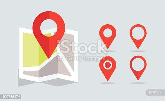 istock New Flat design location map with red pin, label, marker. Vector EPS 10. 902788474