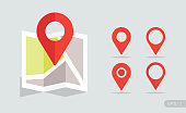 New Flat design location map with red pin, label, marker. Vector EPS 10.
