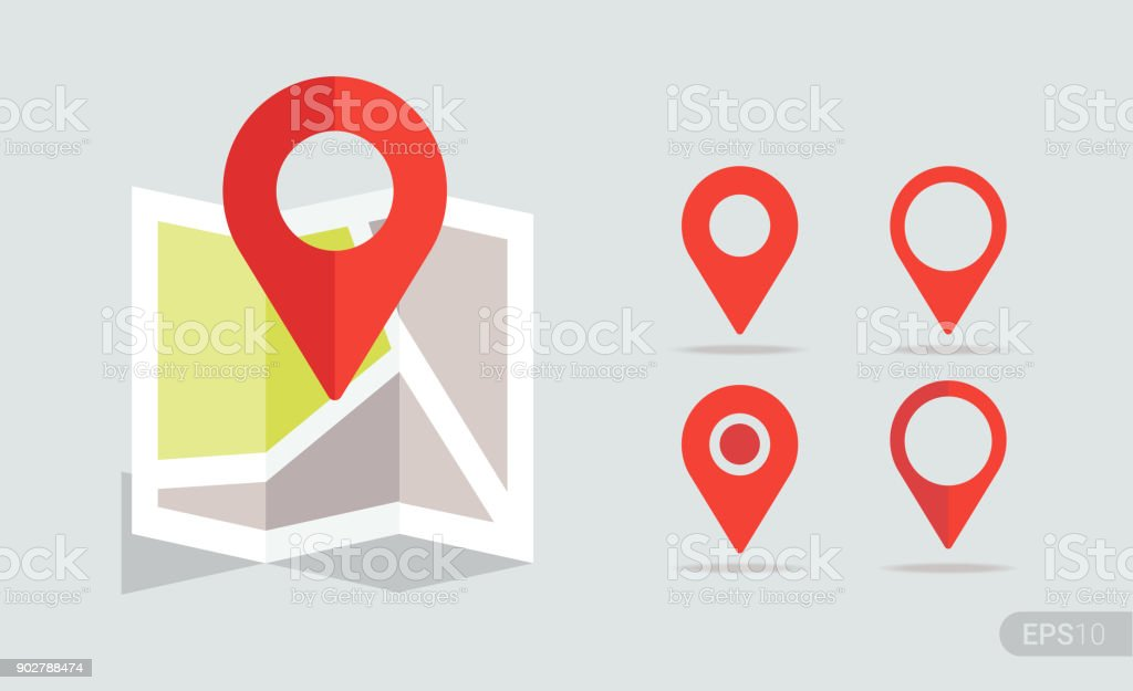 New Flat design location map with red pin, label, marker. Vector EPS 10. vector art illustration