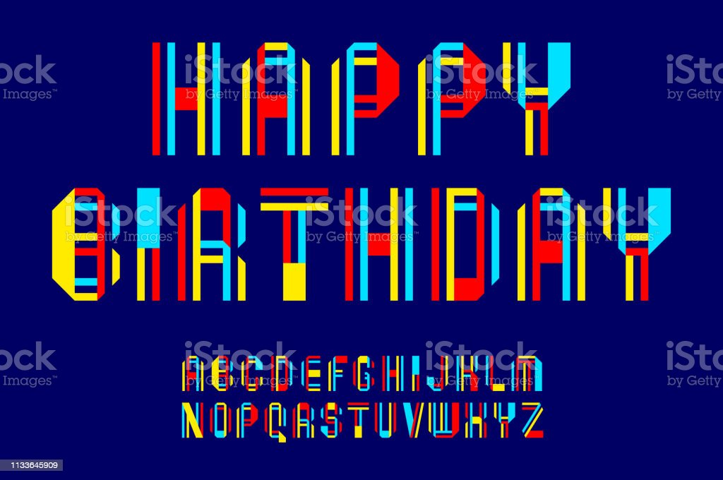 New font, letters folded from colored ribbons and pieces of paper.