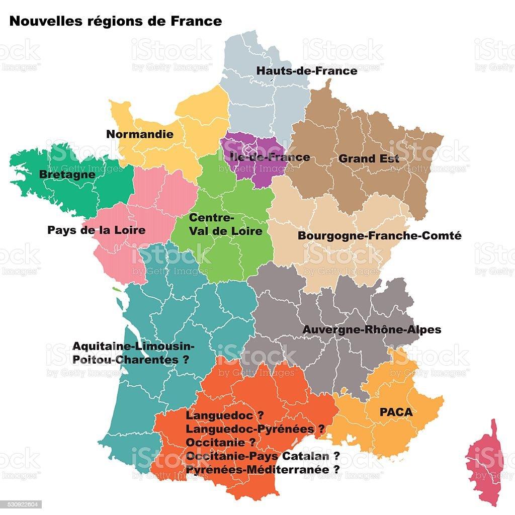 New French regions. Nouvelles regions de France. vector art illustration
