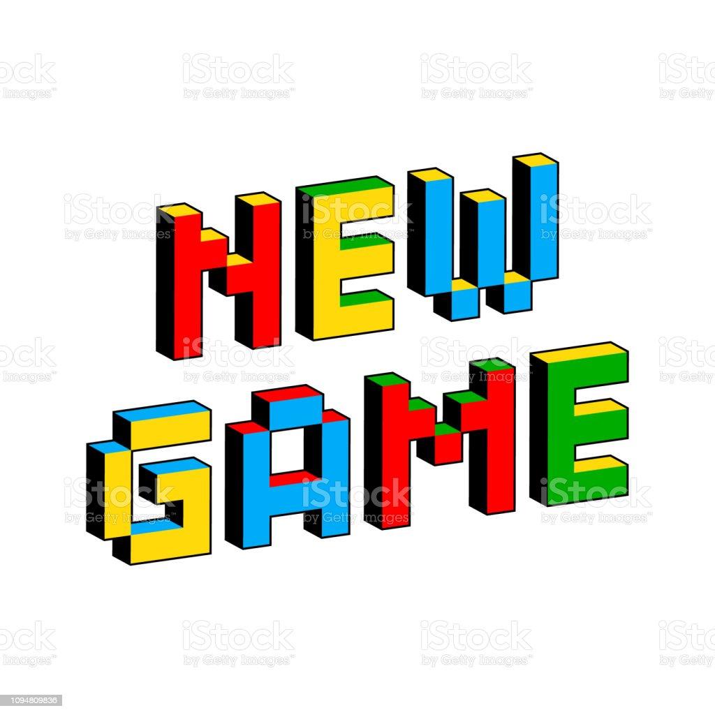 昔の 8 ビット ビデオ ゲームのスタイルで新しいゲーム テキスト。活気に満ちたカラフルな 3 D のピクセルの文字。創造的なデジタル ベクトル ポスター、チラシ テンプレート。レトロなア� ベクターアートイラスト