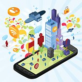 A crazy city over a smartphone. A lot of crazy elements included: airplane, people, cars, gps, icons, lock, abstract graphics, speech bubble, smileys, advertising, mail. A lot of happy colors used.