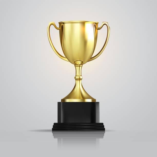 ilustrações, clipart, desenhos animados e ícones de novo golden cup campeão isolado no fundo branco. ilustração 3d realista de vetor. troféu do campeonato com partículas cintilantes de confete. prêmio do torneio de esporte. conceito de vitória - troféu
