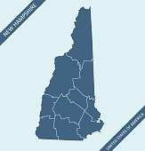 Highly detailed map of New Hampshire county state of United States of America for web banner, mobile, smartphone, iPhone, iPad applications and educational use. The map is accurately prepared by a map expert.