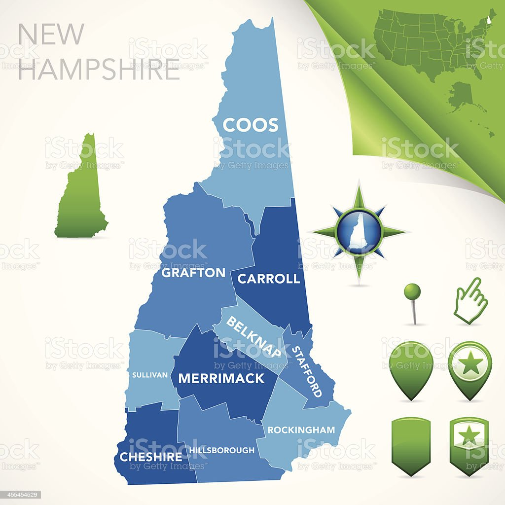 New Hampshire County Map royalty-free stock vector art