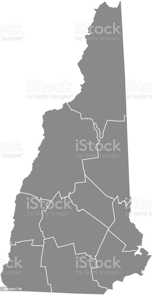 New Hampshire county map vector outline gray background. Map of New Hampshire state of United States of America with counties borders royalty-free new hampshire county map vector outline gray background map of new hampshire state of united states of america with counties borders stock vector art & more images of accuracy