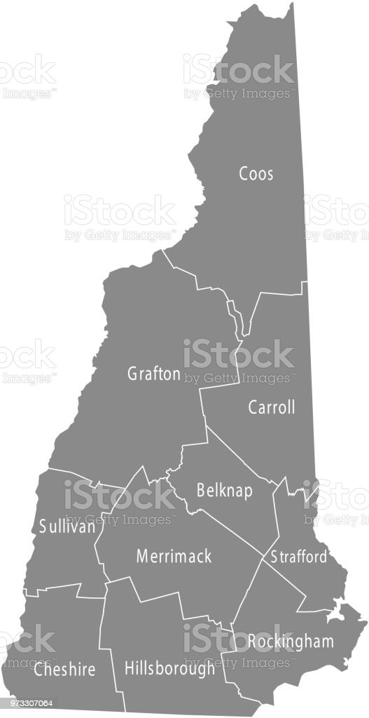 New Hampshire County Map Vector Outline Gray Background Map ... on gray italy map, gray russia map, gray global map, gray poland map, gray world map, gray europe map, gray belgium map, gray puerto rico map, gray canada map, gray indonesia map, gray mexico map, gray asia map,