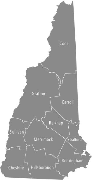 New Hampshire county map vector outline gray background. Map of New Hampshire state of USA with borders and counties names labeled New Hampshire county map vector outline gray background. Map of New Hampshire state of USA with borders and counties names labeled new hampshire stock illustrations
