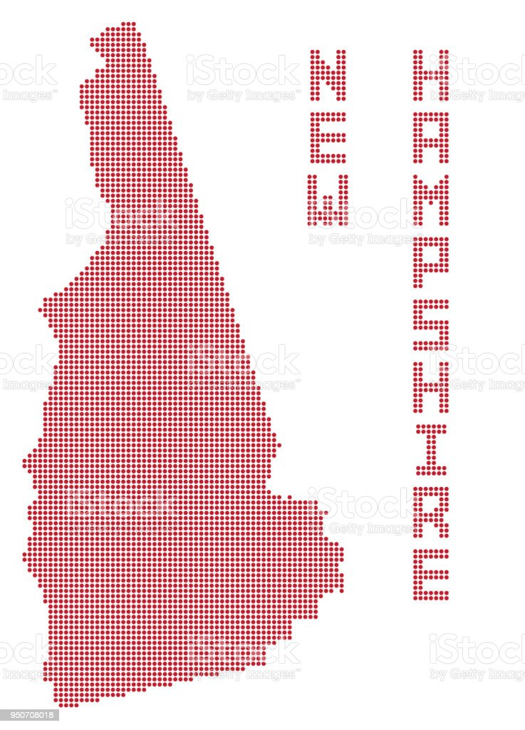 New Hampshire Dot Map vector art illustration
