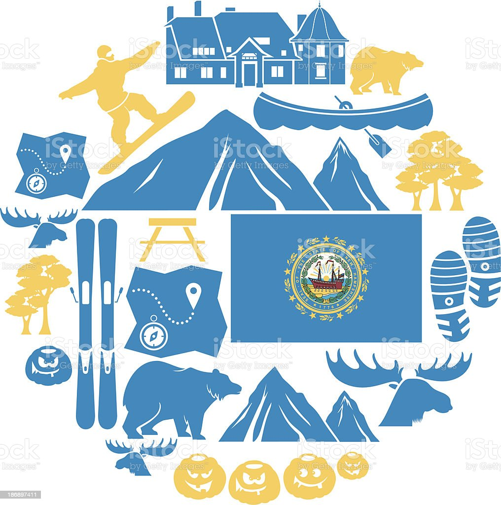 New Hampshire Icon Set vector art illustration