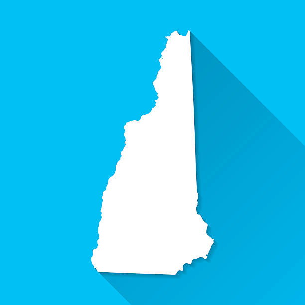 New Hampshire Map on Blue Background, Long Shadow, Flat Design vector art illustration