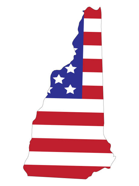 stockillustraties, clipart, cartoons en iconen met new hampshire kaart met amerikaanse vlag - new hampshire