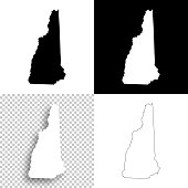 New Hampshire maps for design - Blank, white and black backgrounds