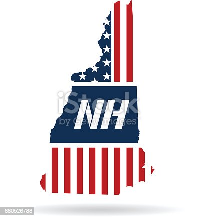 New Hampshire Patriotic Map. Vector graphic design