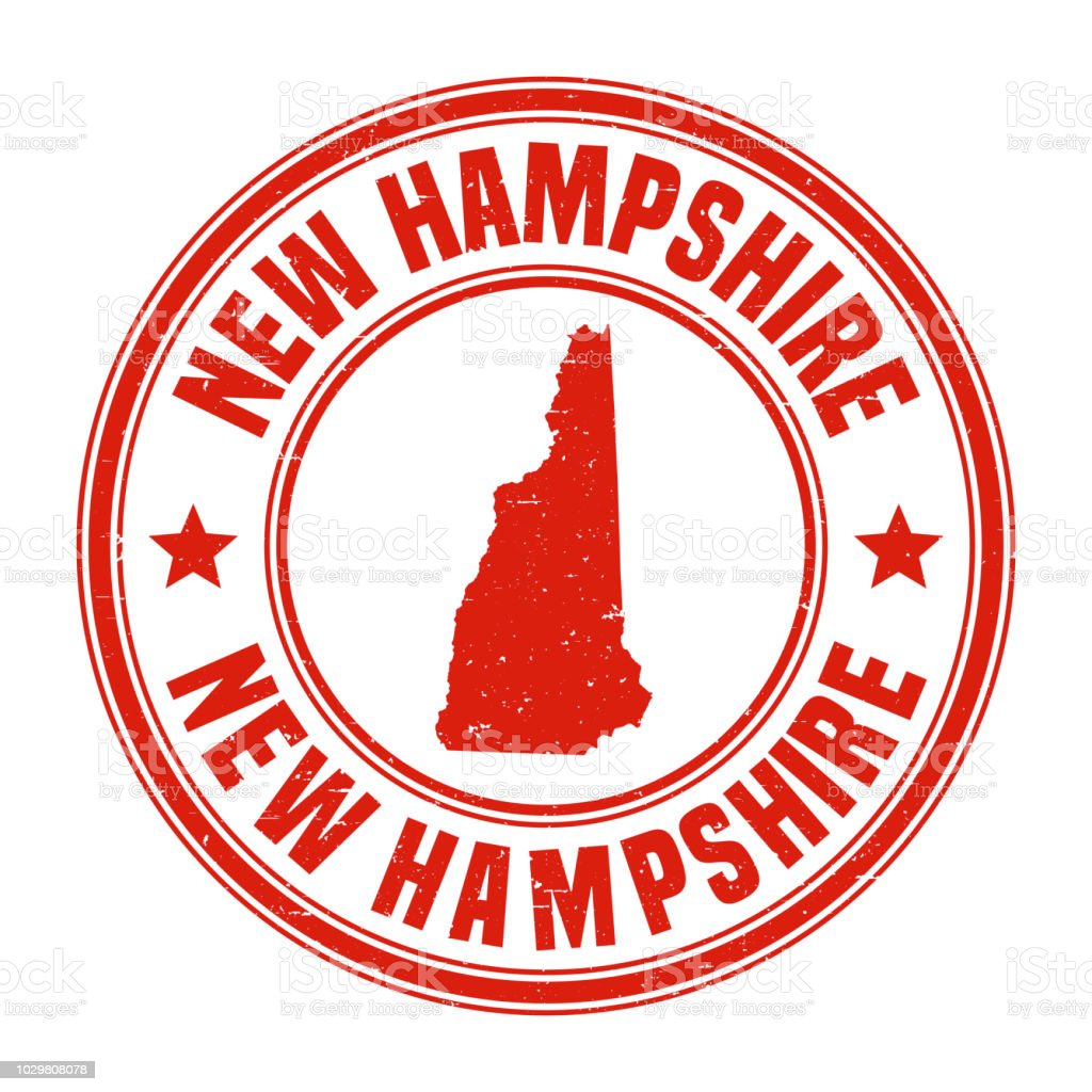 New Hampshire Red Grunge Rubber Stamp With Name And Map Stock Vector