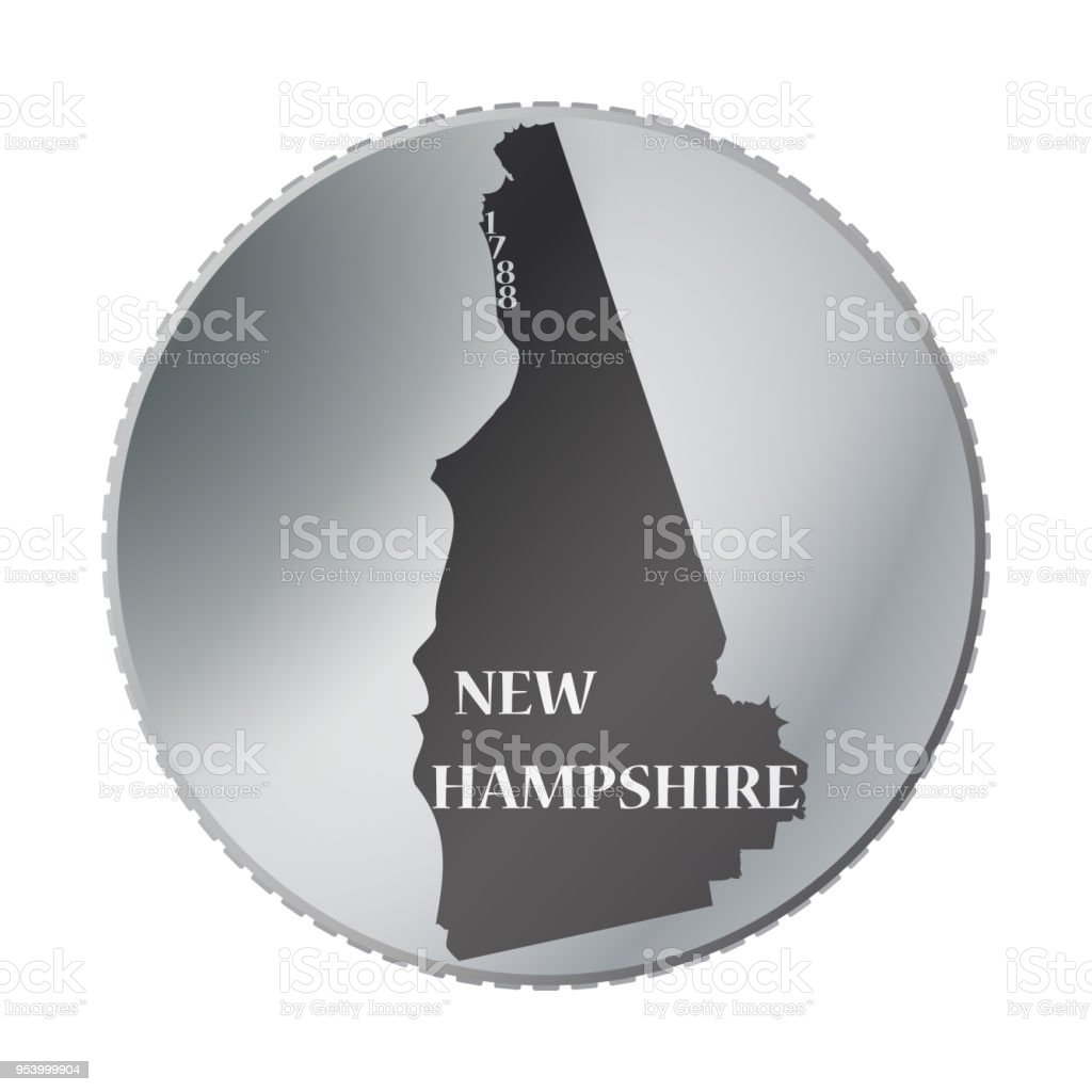 New Hampshire State Coin vector art illustration
