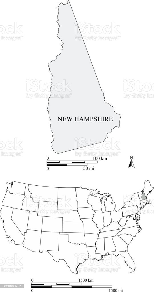 New Hampshire State Of Us Map Vector Outlines With Scales Of Miles - New hampshire on us map