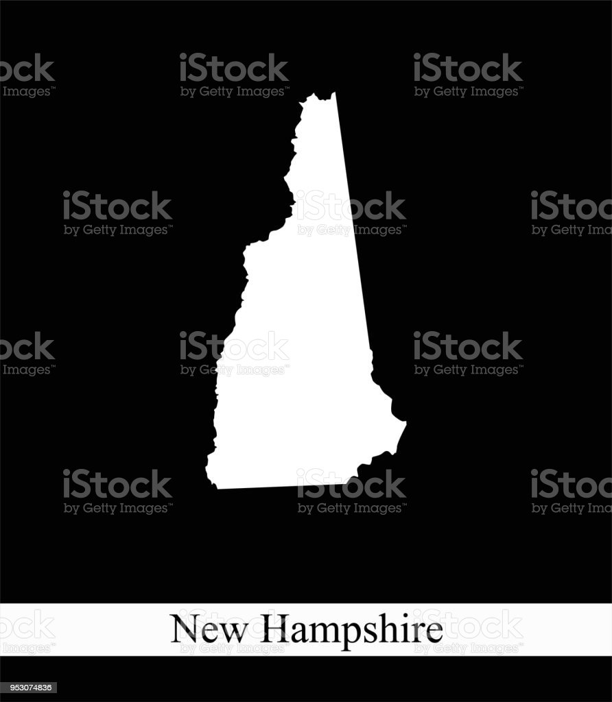 New Hampshire State Of Usa Map Vector Outline Illustration Black And ...