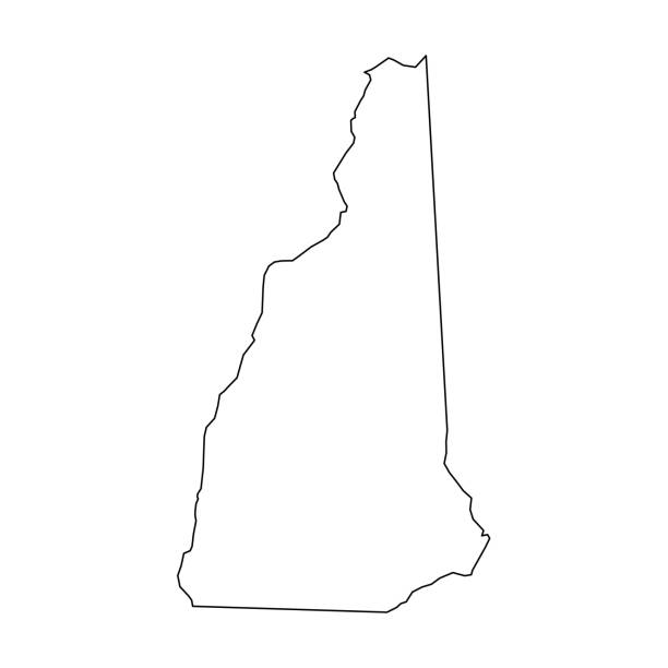 New Hampshire, state of USA - solid black outline map of country area. Simple flat vector illustration New Hampshire, state of USA - solid black outline map of country area. Simple flat vector illustration. new hampshire stock illustrations