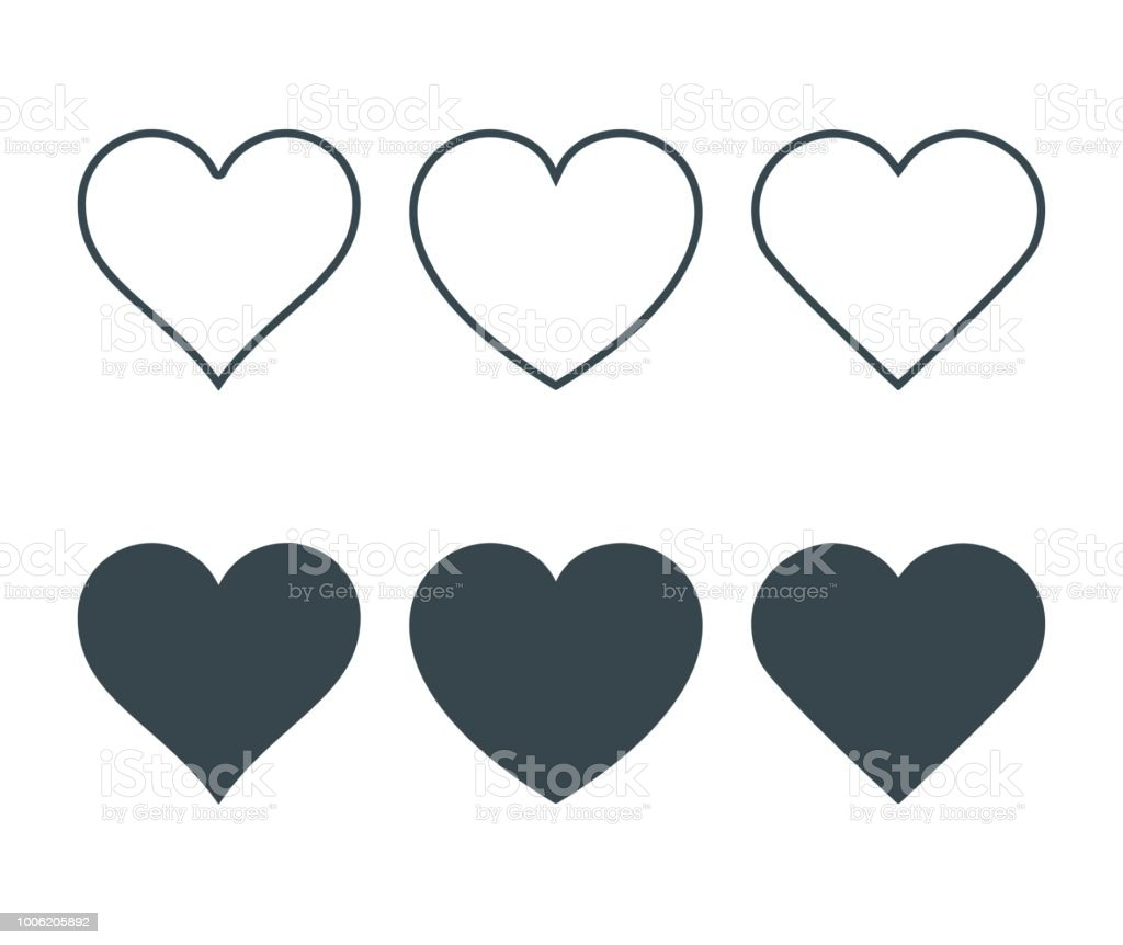New heart icons, concept of love, Set of linear icons with thin line and with dark fill. Isolated on white background. Vector Illustration - Royalty-free Abstrato arte vetorial