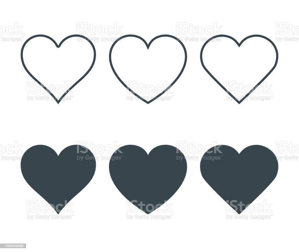 Neue Herz Symbole, Konzept der Liebe, Festlegen der linearen Ikonen mit dünnen Linie und mit dunklen füllen. Isoliert auf weißem Hintergrund. Vektor-Illustration - Lizenzfrei Abstrakt Vektorgrafik