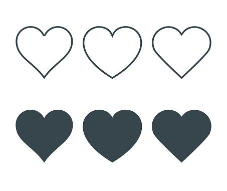 Yeni Kalp Simgeler Aşk Kavramı Koyu Dolgu Ile Ince Bir Çizgi Ile Doğrusal Simgelerin Ayarlayın Beyaz Arka Plan Üzerinde Izole Vektör Çizim Stok Vektör Sanatı & Aşk'nin Daha Fazla Görseli