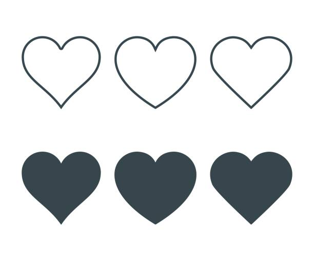 New heart icons, concept of love, Set of linear icons with thin line and with dark fill. Isolated on white background. Vector Illustration vector art illustration