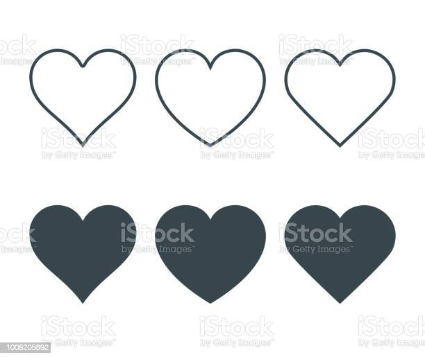 New heart icons, concept of love, Set of linear icons with thin line and with dark fill. Isolated on white background. Vector Illustration
