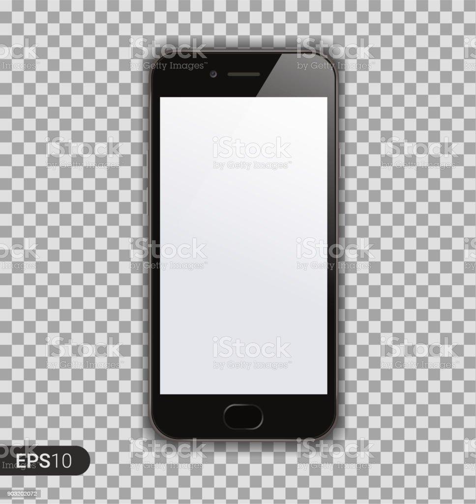 Neues hoch detaillierte realistische Smartphone auf transparenten Hintergrund isoliert. Vorderansicht anzuzeigen. Mock-up Separate Gerätegruppen und Schichten. Leicht bearbeitbar Vektor. EPS 10. – Vektorgrafik