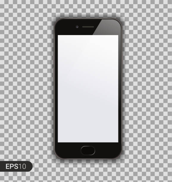 new high detailed realistic smartphone isolated on transparent background. display front view. device mockup separate groups and layers. easily editable vector. eps 10. - mobile phone stock illustrations, clip art, cartoons, & icons