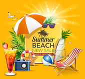 drawing of vector new summer holiday sign. Created by illustrator cs6. This file of transparent.