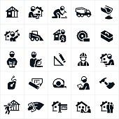 A set of icons with themes related to new home construction. The icons focus on the construction of residential homes and include construction workers, home building, architects, work tools and actual home buyers to name a few.