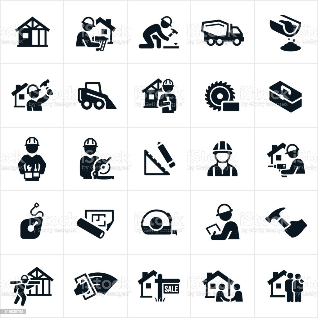 New Home Construction Icons vector art illustration