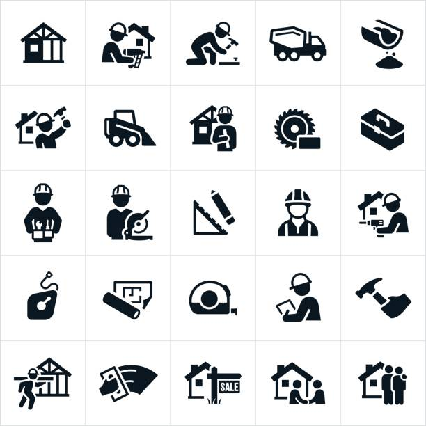 new home construction icons - architect stock illustrations, clip art, cartoons, & icons