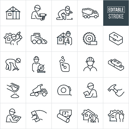 New Home Construction Thin Line Icons - Editable Stroke