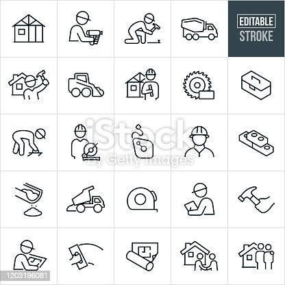 A set of new home construction icons that include editable strokes or outlines using the EPS vector file. The icons include a home in a phase of construction, construction worker with nail-gun, construction worker nailing with hammer, cement truck, construction worker standing near home, machinery, architect with blueprints, power saw, toolbox, cement worker using hand trowel, chalk line, bricks, cement, dump truck, tape measure, inspector, construction worker reviewing blueprints, blueprints, home buyers and other related icons.