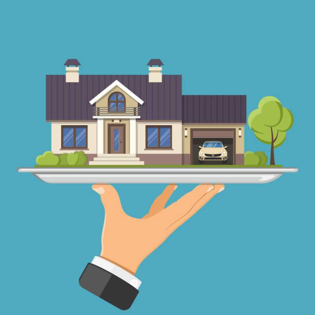 トレイに新しい家 - 小売販売員点のイラスト素材/クリップアート素材/マンガ素材/アイコン素材