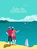 New horizons exploration flat color vector poster