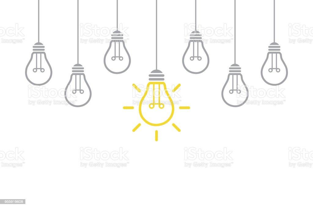 Nuevo concepto de Idea con bombilla - ilustración de arte vectorial
