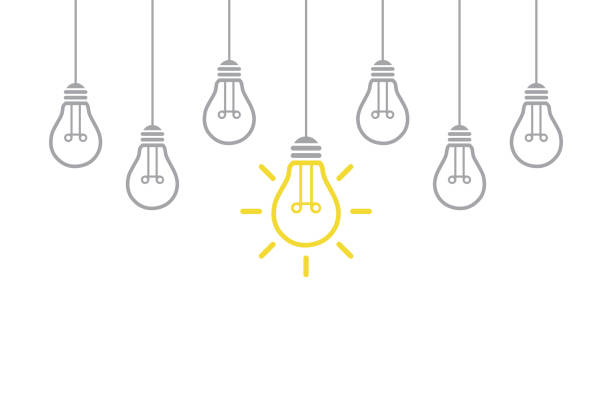 new idea concept with light bulb - inspiration stock illustrations