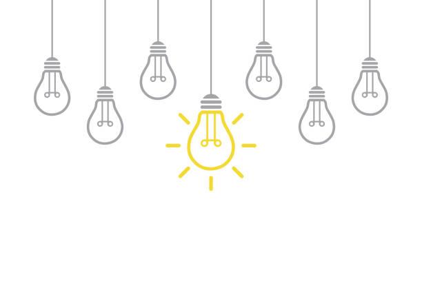 ilustraciones, imágenes clip art, dibujos animados e iconos de stock de nuevo concepto de idea con bombilla - conceptos de negocios
