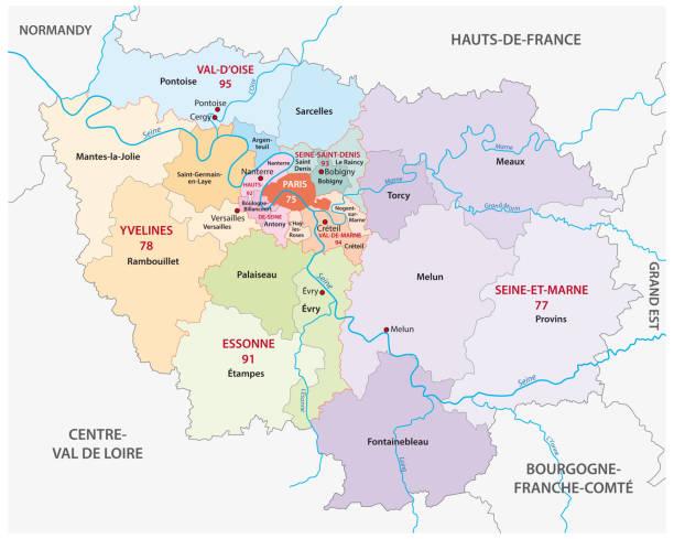 new ile de france administrative and political map, france new ile de france administrative and political vector map, france seine river stock illustrations