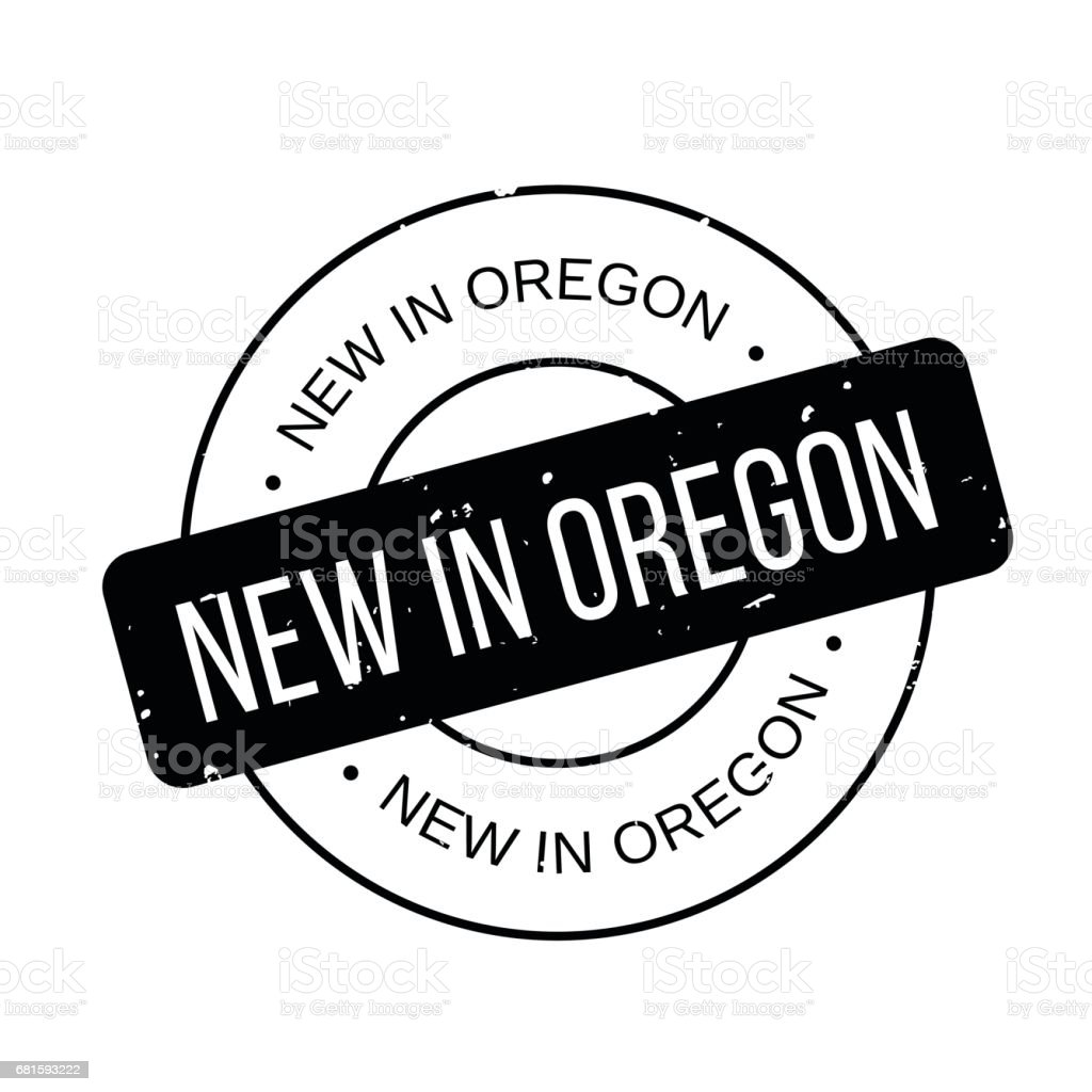 New In Oregon rubber stamp vector art illustration