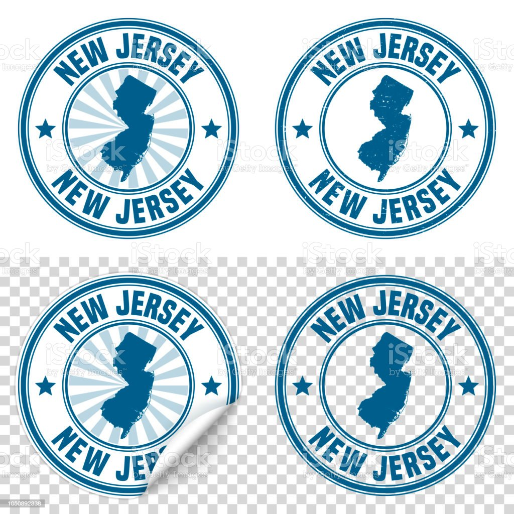 New Jersey Blue Sticker And Stamp With Name Map Stock Vector Art
