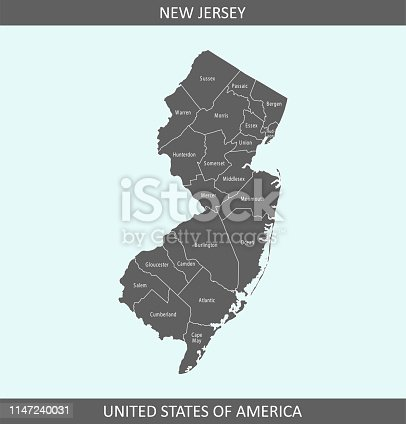 Accurate outline vector map in gray background prepared by a map expert.